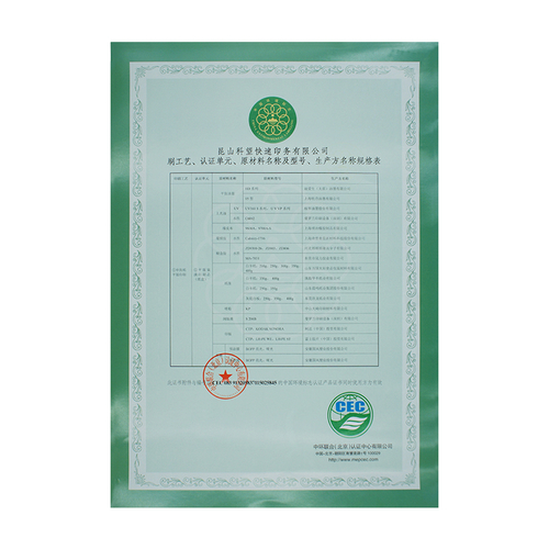 Attachment to Environmental Labeling Product Certification
